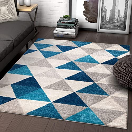 Well Woven Isometry Blue Grey Modern Geometric Triangle Pattern 9×13 9 3 x 12 3 Area Rug Soft Stain Resistant