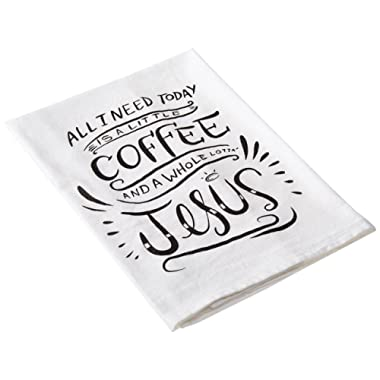 Primitives by Kathy LOL Made You Smile Dish Towel, 28  by 28 , A A Little Coffee and A Whole Lot of Jesus
