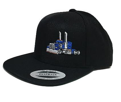0bb8dc6e456 Trucker Hat Diesel Big Rig Cap Flat Bill Snapback (Black Blue) at ...