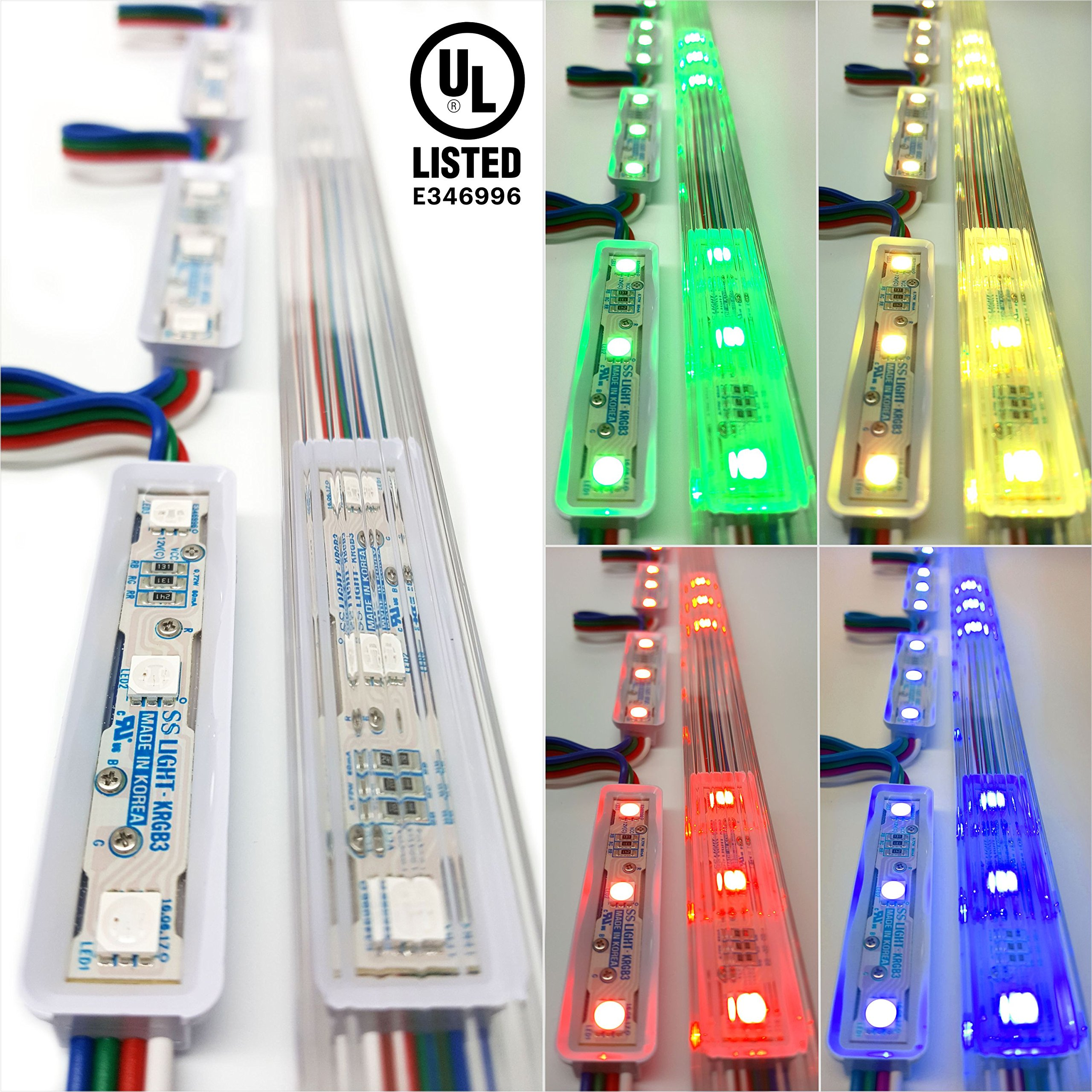 Storefront Window LED Lights Kit with Protective Tracks for Indoor & Outdoor Plug in Light (Multi-colored 20ft)