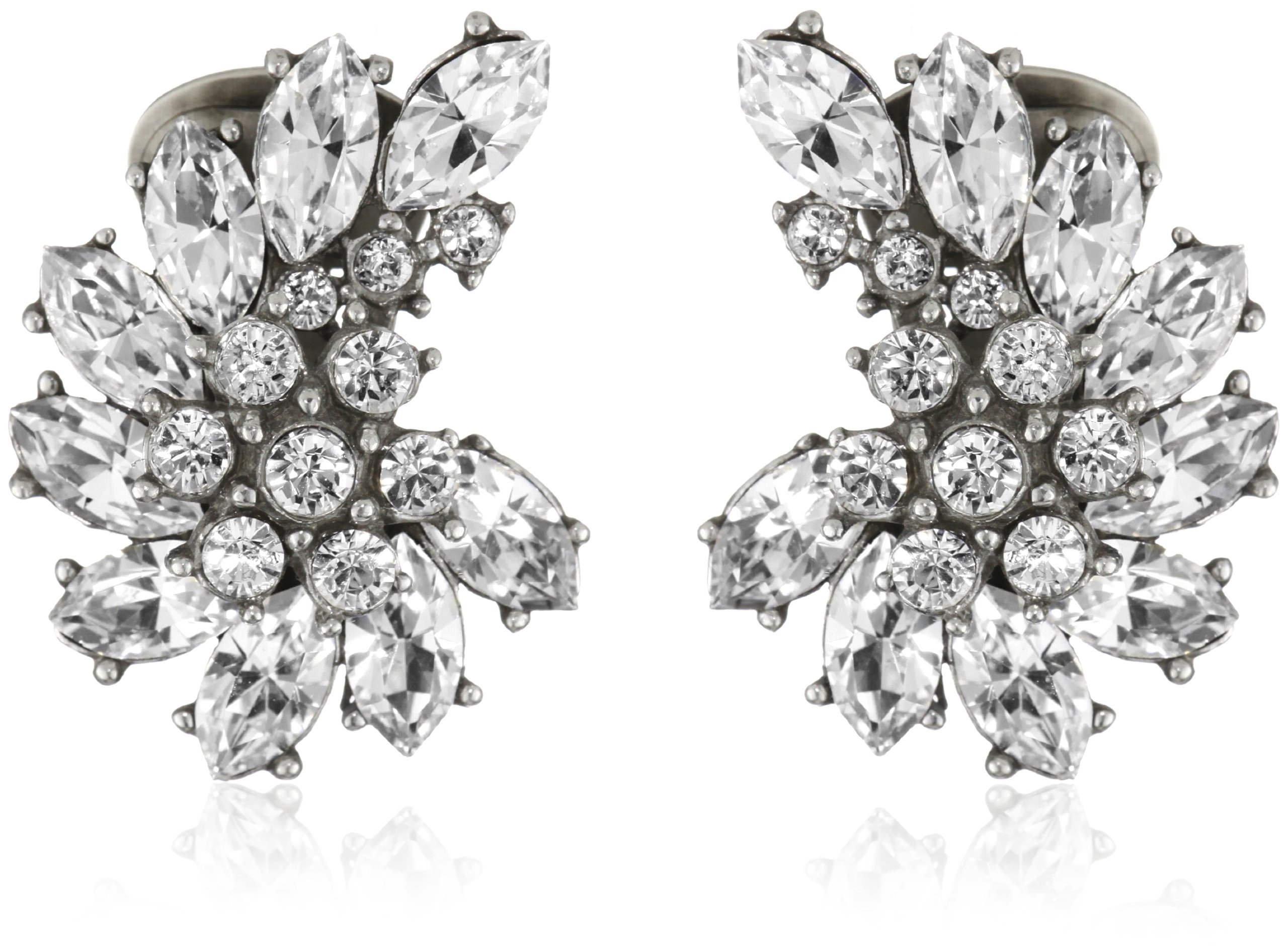 Ben-Amun Jewelry Swarovski Crystal Cluster Clip-On Earrings