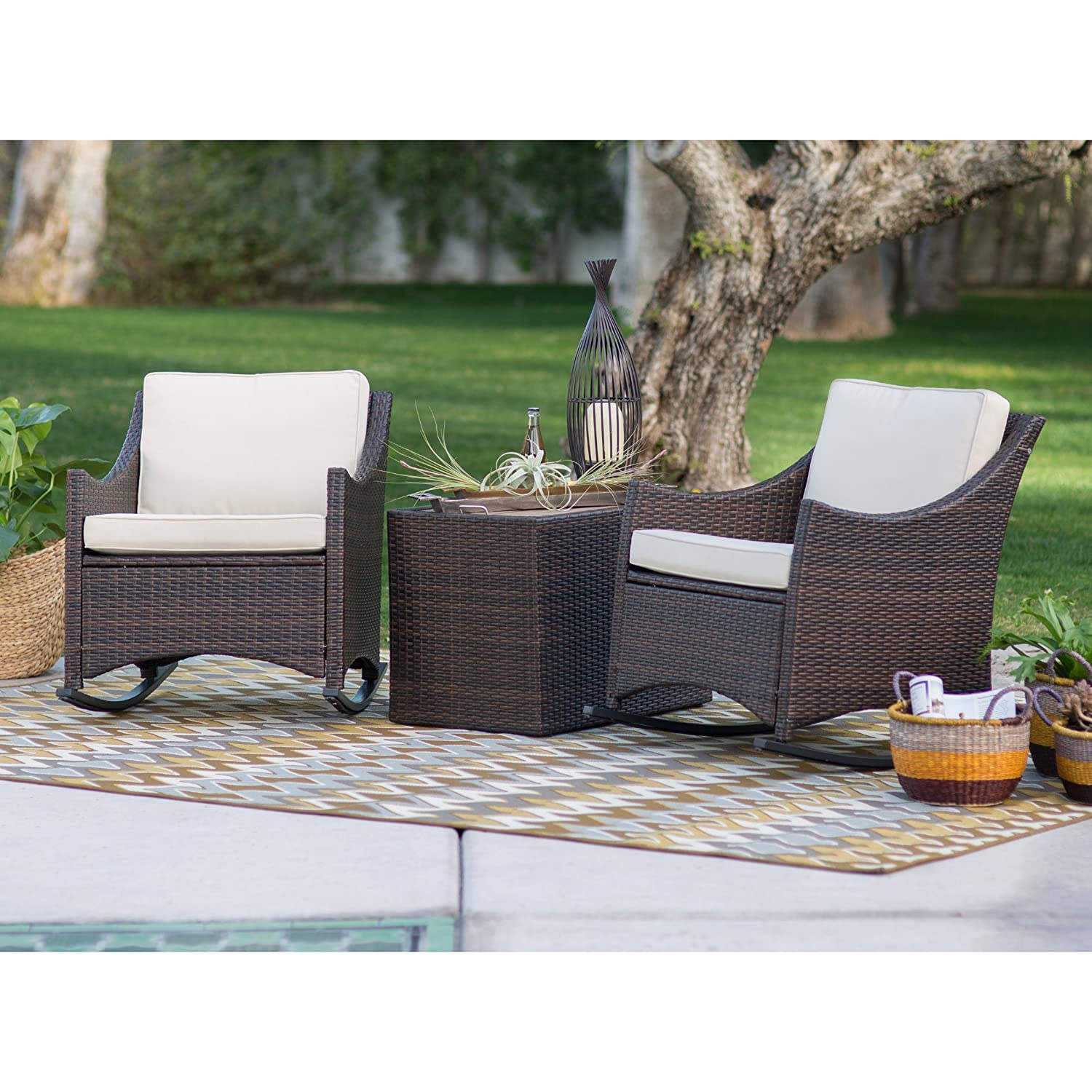 Patio Furniture Sets,Traditional Harrison, Patio Set 3 Piece, Club Style  Durable Resin Wicker Outdoor Patio Rocking Chairs With Side Storage Table  Comes In ... - Amazon.com : Patio Furniture Sets, Traditional Harrison, Patio Set 3
