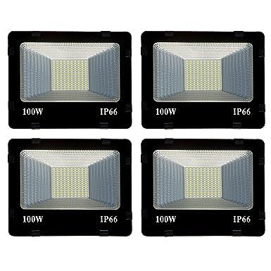 100 Watt Ultra Thin Slim IP66 LED Flood outdoor light cool White waterproof-100w (pack of 4) LED Bulbs at amazon