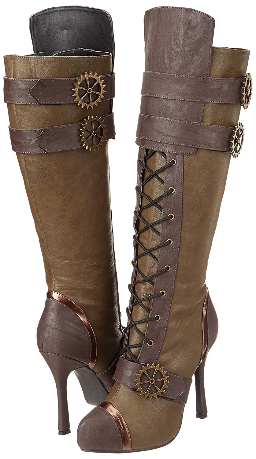 Ellie Shoes Womens 420 Quinley 4 Knee High Steampunk Boot with Laces Green 8 M US