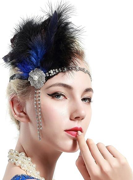 Kostüm Damen Flapper Federn Stirnband Kopfschmuck Zubehör