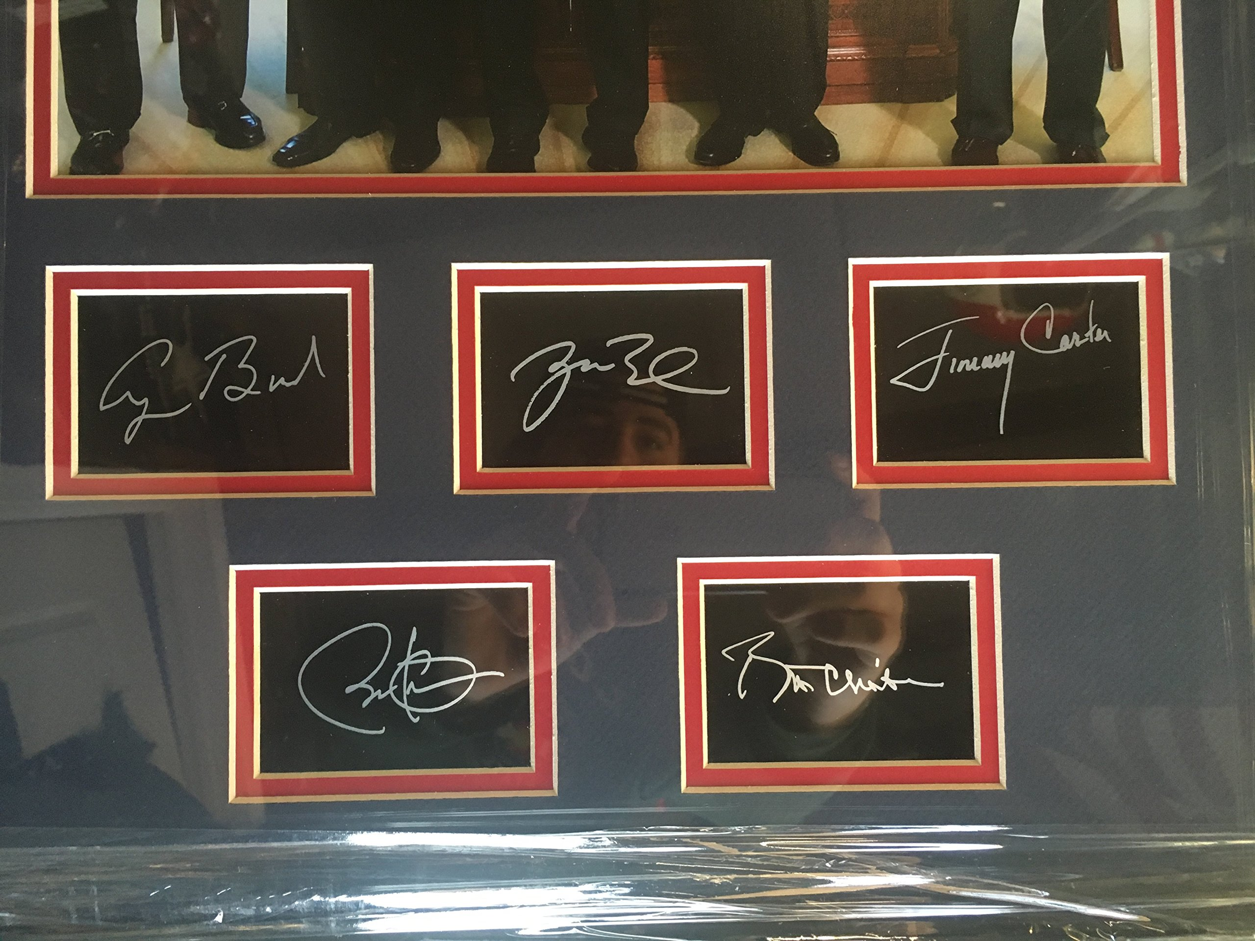 Former Presidents Jimmy Carter, George H.W. Bush, George W. Bush, Bill Clinton, & Barak Obama Custom Framed Photo with Laser Etched Signatures