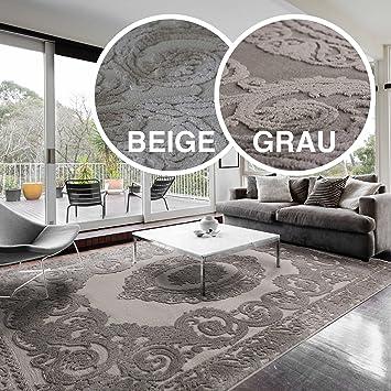 Teppiche Wohnzimmer Beige U0026 Grau Kurzflor Mit Medaillon Muster Designer  Teppich Hochwertig Vintage Style In