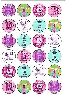 24 Precut GIRL Age 13 Thirteen 13th Thirteenth Birthday Edible Wafer Paper Cake Toppers
