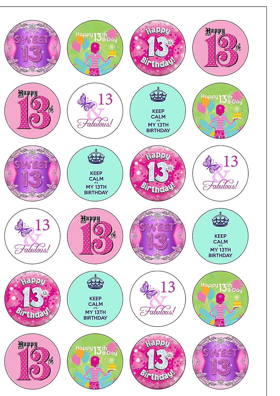 24 Precut GIRL Age 13 Thirteen 13th Thirteenth Birthday Edible Wafer Paper Cake Toppers Decorations Top That