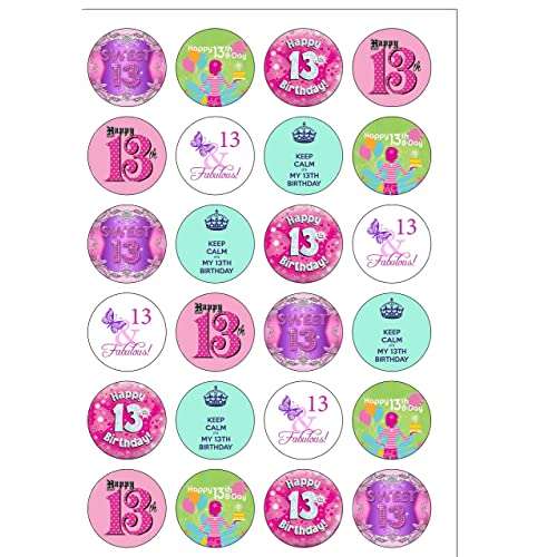 24 Precut GIRL Age 13 Thirteen 13th Thirteenth Birthday Edible Wafer Paper Cake Toppers Decorations