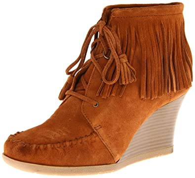 Amazon.com | Minnetonka Women's Lace Up Fringe Ankle Boot, Brown ...