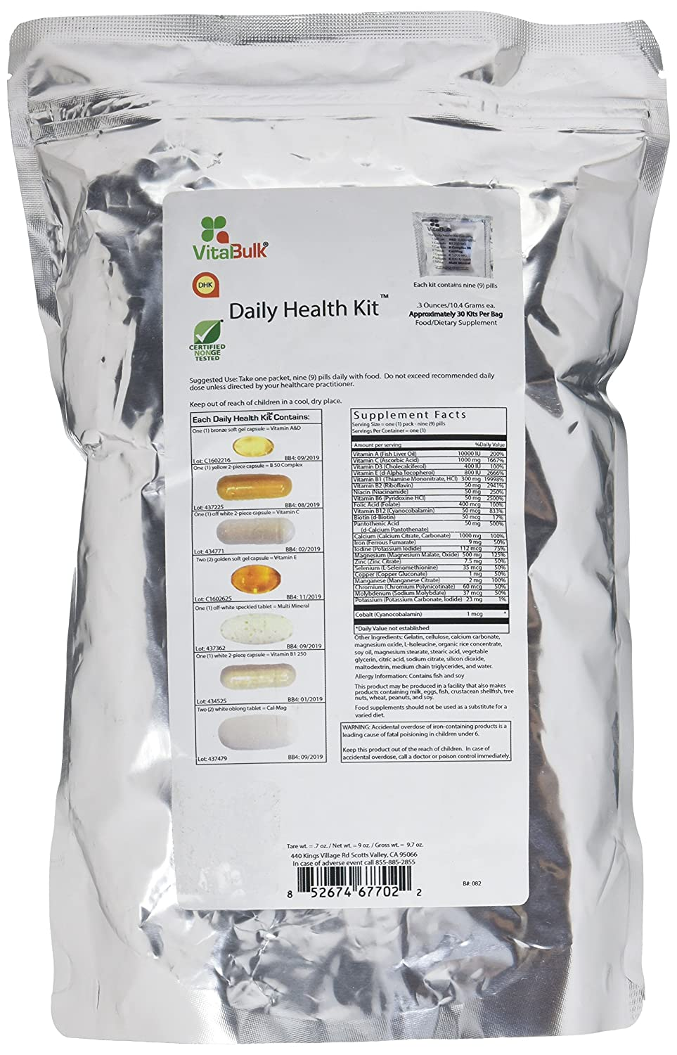 Vital Bulk Daily Health Kit Packet Multivitamin Mineral Supplements 30 Count Bag