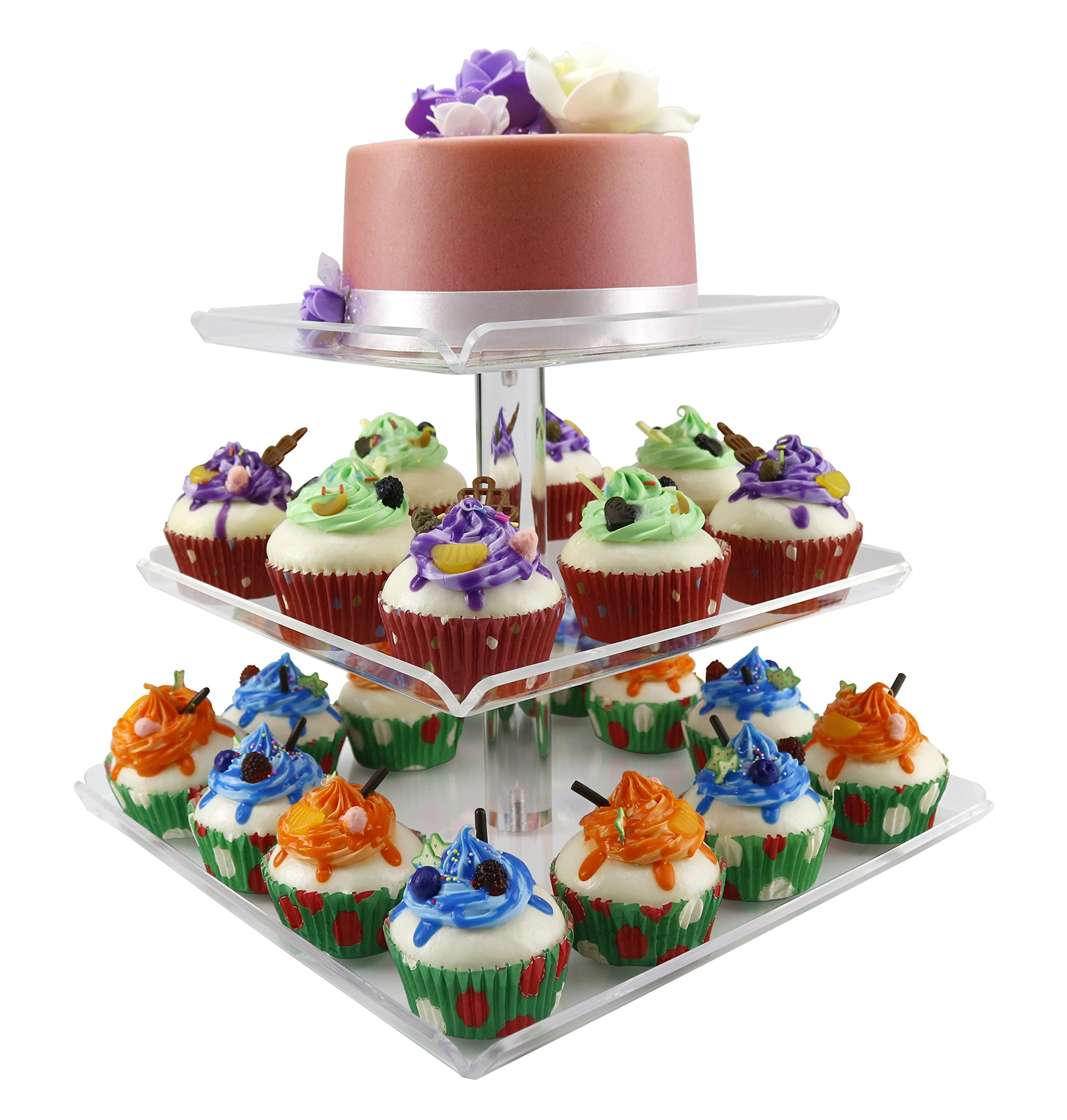 3 Tiers Large Acrylic Cupcake Stands, Serving Tray with Borders, Tiered Square Cake Stand Wedding Tower, Party Dessert Display Holder Multi-Function 3 pcs Separated Trays for Parties Fruit Displays