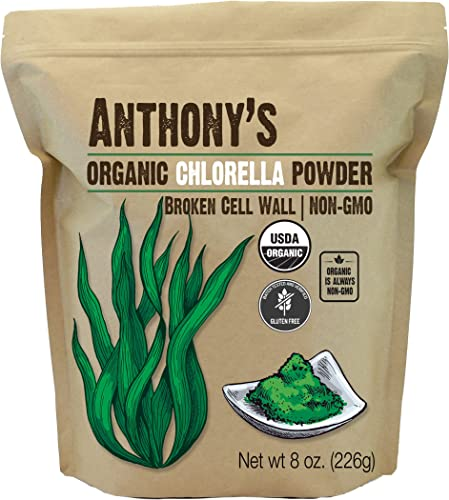 Anthony s Organic Chlorella Powder, 8 oz, Non GMO, Gluten Free, Broken Cell Wall