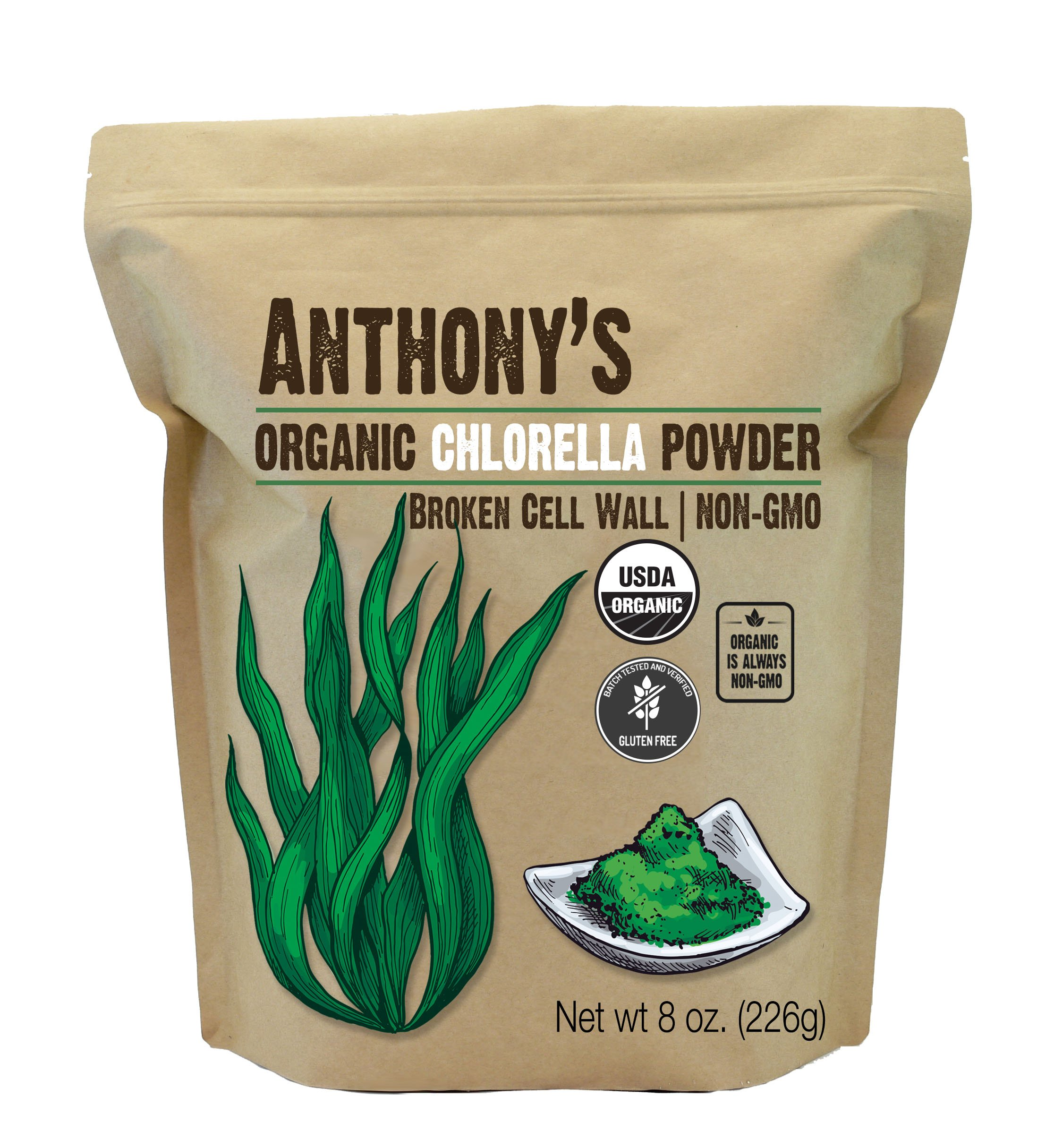 Anthony's Organic Chlorella Powder (8oz), Non-GMO, Gluten Free, Broken Cell Wall