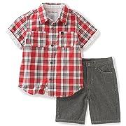 Calvin Klein Baby Boys' 2 Pieces Short Set-Plaid Shirt, Red, 6/9M