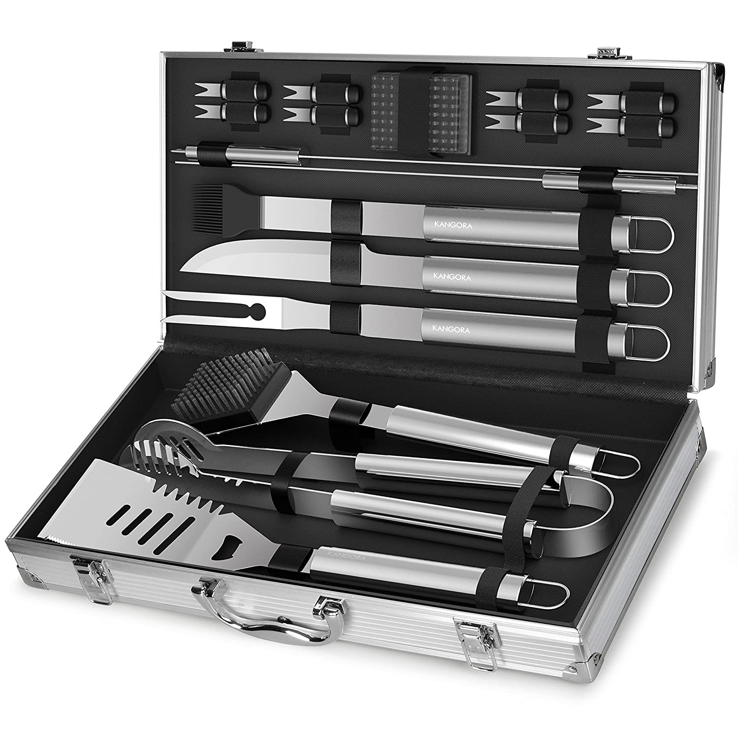 Professional BBQ Grill Utensils w/Storage Case (18-Piece Set)
