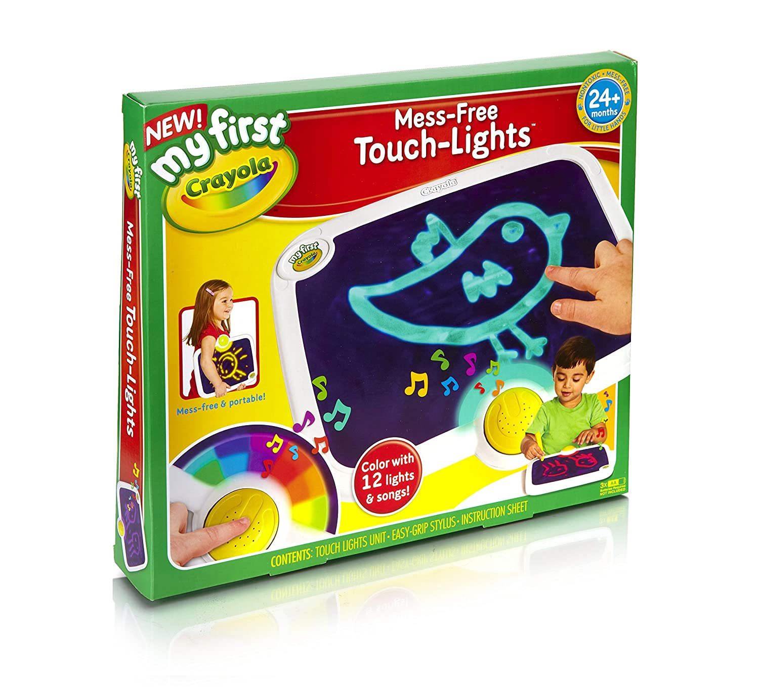 My First Crayola Mess-Free Touch Lights, Ages 2 to 4, Art Activity Station, Colorful Lights & Music, great for Home & On-the-Go