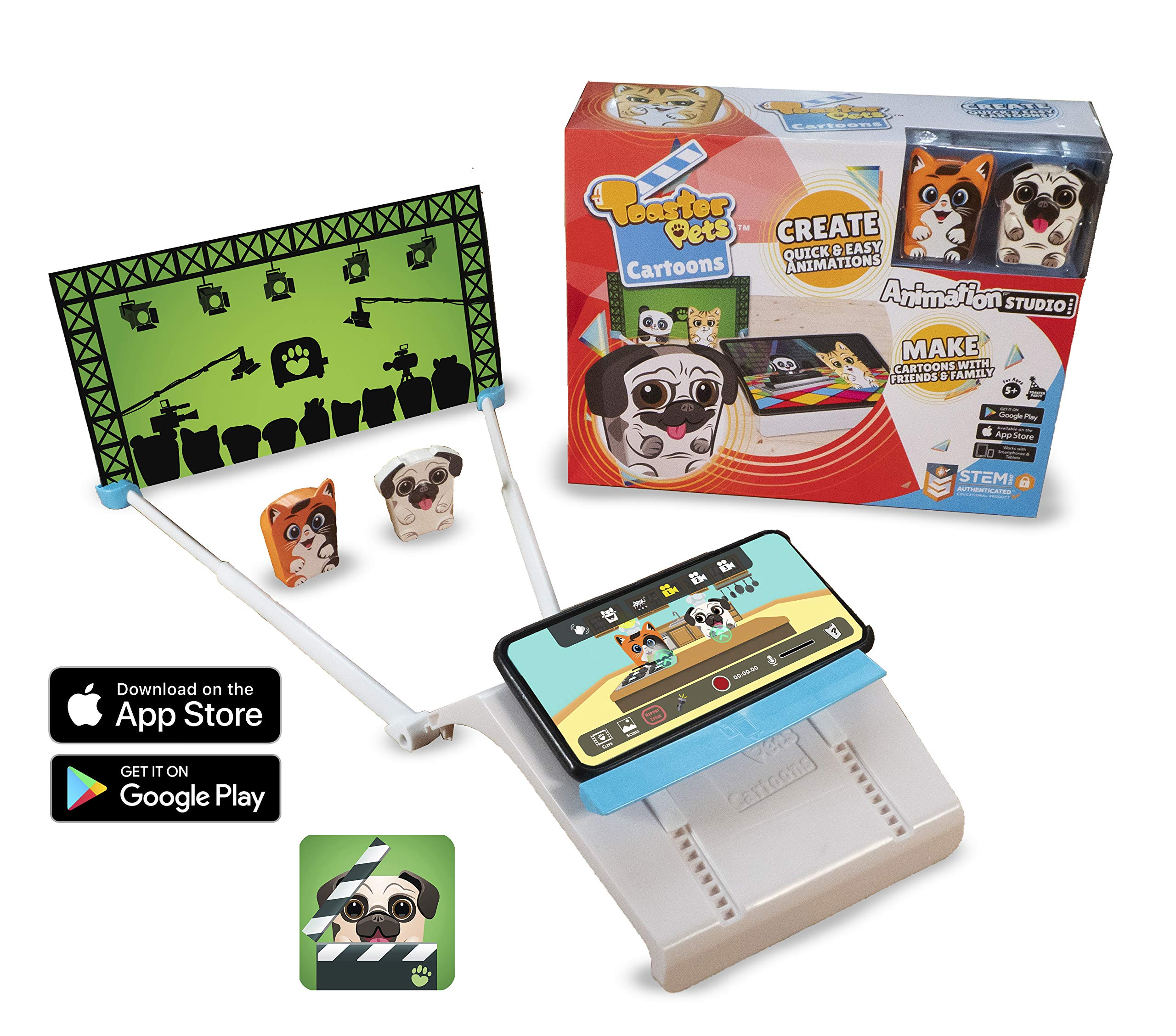 Toaster Pets Cartoons Animation Studio kit | Quick, Easy and Collaborative Movie Maker Set for Girls and Boys