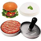 Meykers Burger Press 100 Patty Papers Set - Non-Stick Hamburger Press Patty Maker Mold with Wax Patty Paper Sheets Meat…