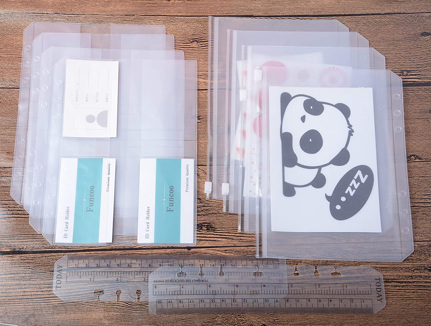 A5 Funcoo 6-Ring Binder Plastic Zipper Pockets//Bill Pouch//Name Card Bag Set of 8 Binder Planner Notebook Refills Inserts 2 Plastic Page Marker Measuring Ruler for 6-Ring Notebook Binder