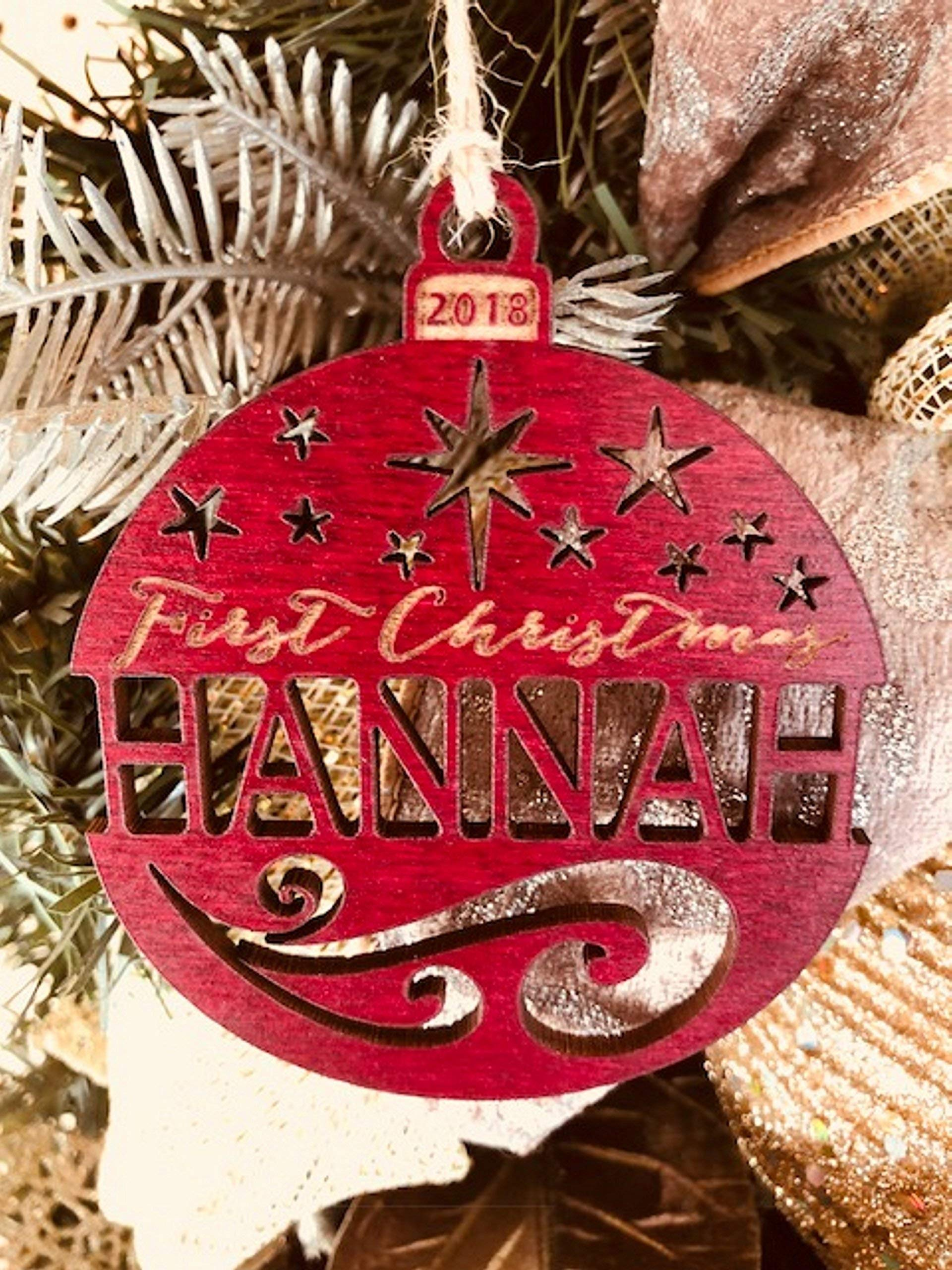 Personalized First Christmas Ornament (any year) from Solid Wood
