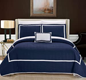Chic Home Mesa 8 Piece Cover Set, King, Navy