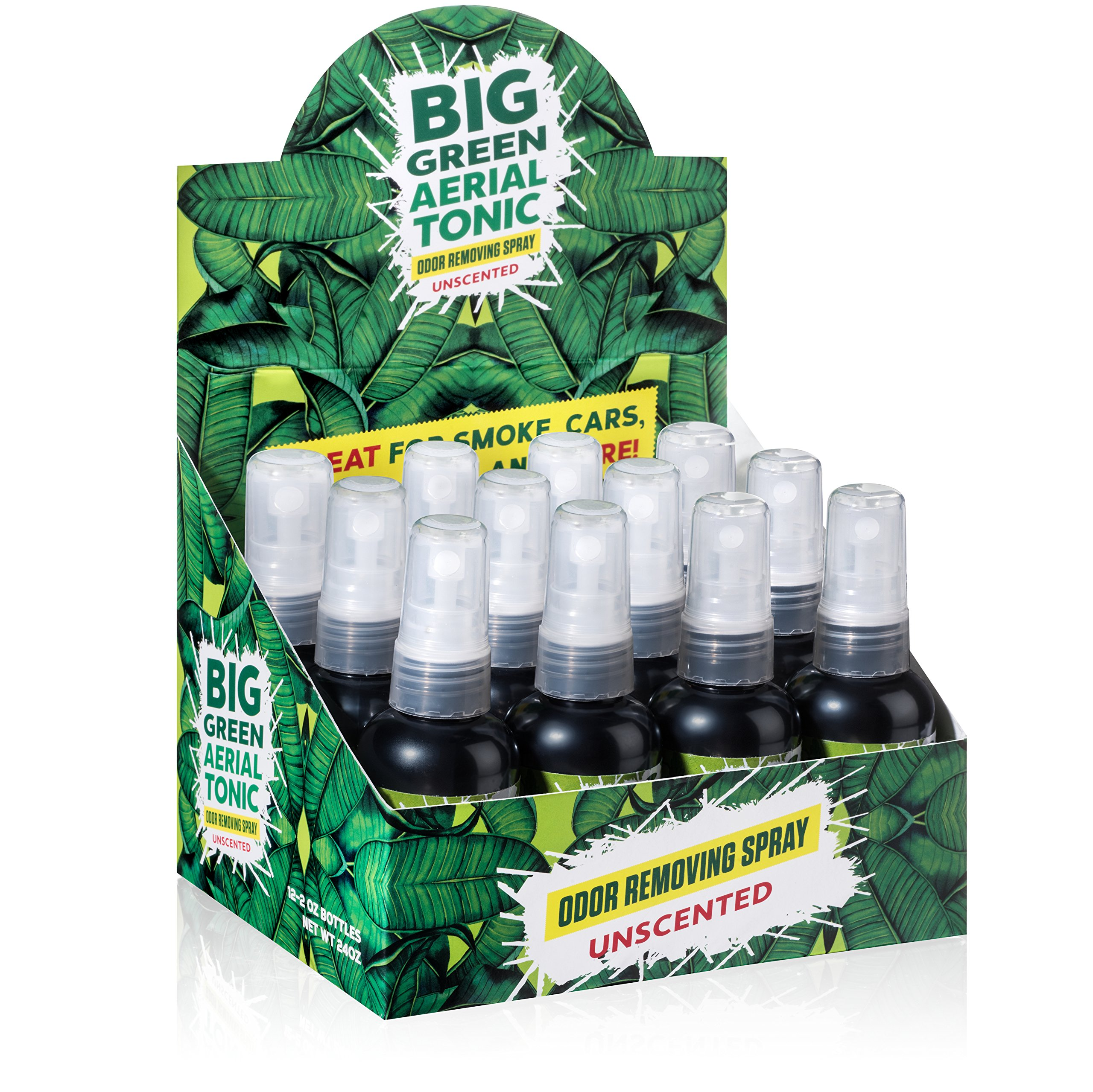 Big Green Smoke Odor Eliminator Spray Unscented | Removes Smell from Cars, Bathrooms, Homes 2oz (Case 12)