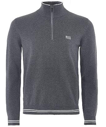 66b9876d6 BOSS Hugo Zimex W18 Cotton Regular Fit Quarter Zip Grey Jumper XXL:  Amazon.co.uk: Clothing