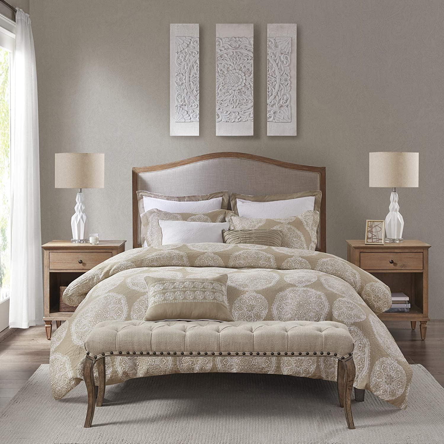"""MADISON PARK SIGNATURE MPS10-442 Duvet Style 100% Cotton Comforter with Removable Cover, Medallion Print Classic Luxe All Season Down Alternative Bed Set, Queen(92""""x96""""), Neutral 8 Piece"""
