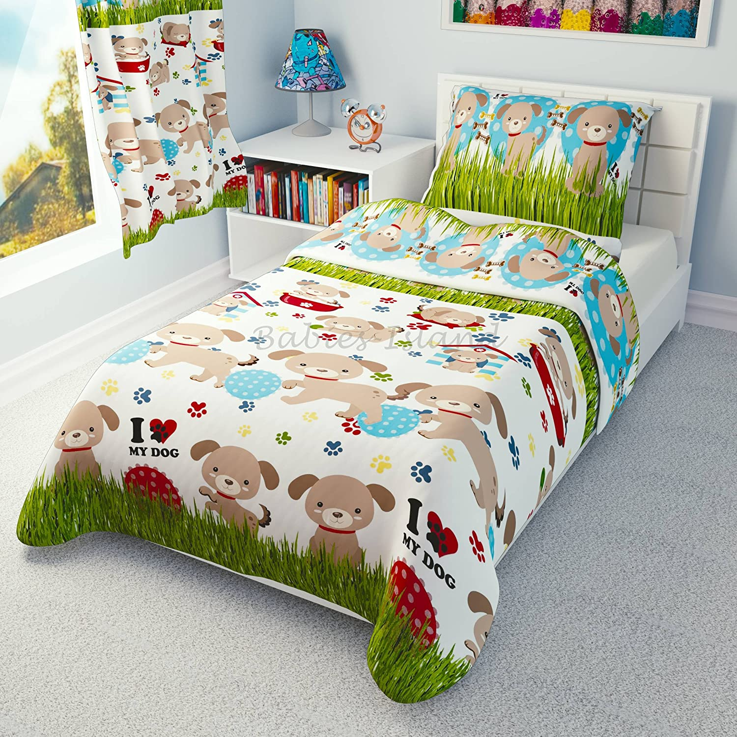 babies-island Children's Bedding set- Girls and Boys Duvet Cover and Pillowcase Cot/Cot bed/Toddler - Dogs, Puppies (90x120 cm)