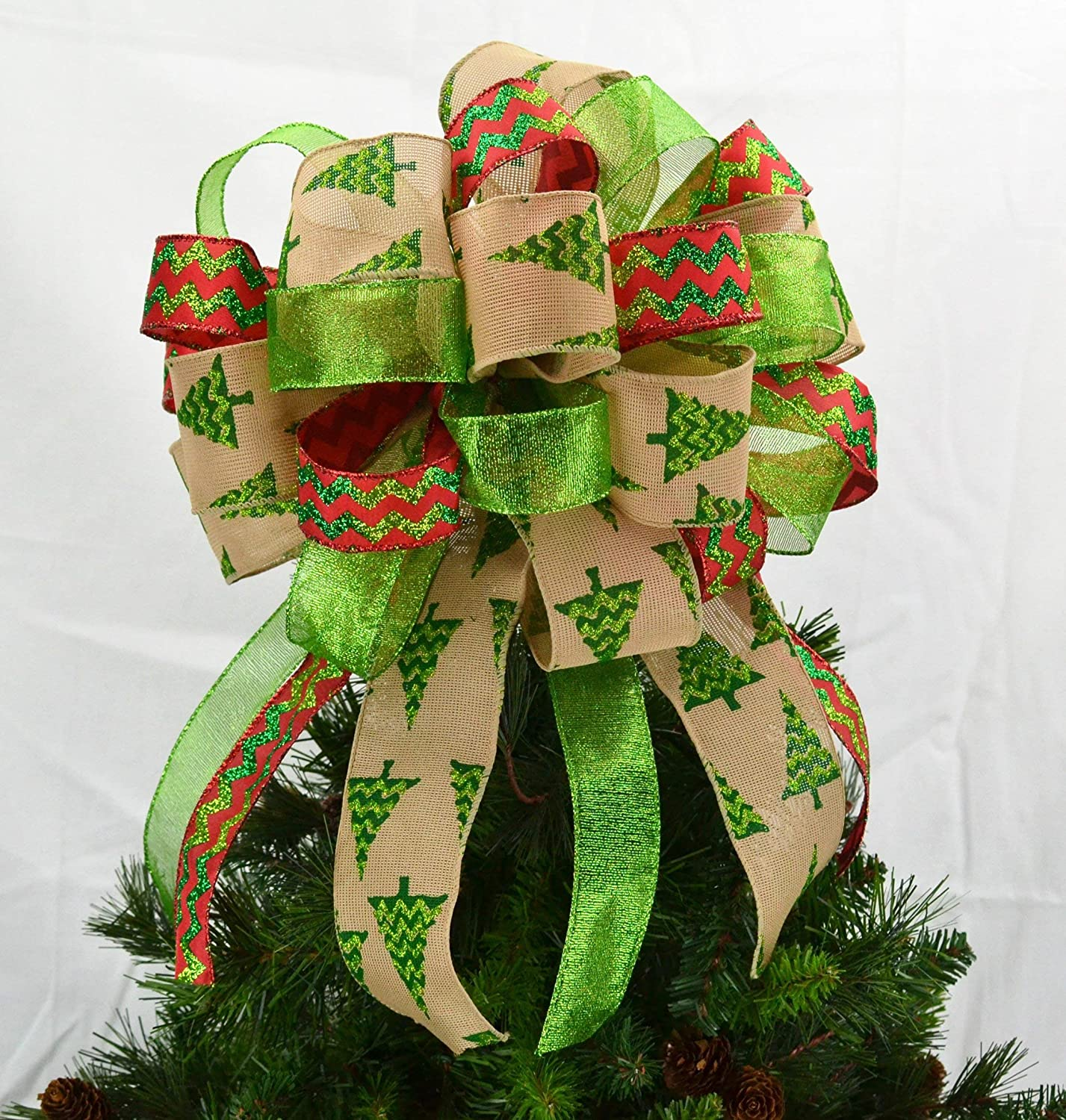 Christmas Tree Bows Red.Tree Topper Bows Christmas Tree Bow Topper Red Burlap Lime Green