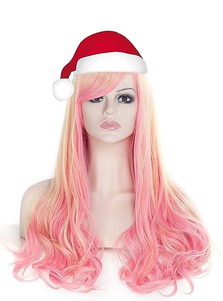 Largo rizado ondulado pelucas para las mujeres cabeza completa color rosa y amarillo Cosplay Lolita partido