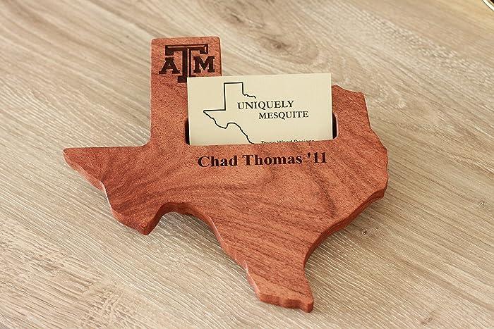 Amazon texas am university business card holder custom texas am university business card holder custom engraved texas shaped mesquite wood desktop business card holder colourmoves