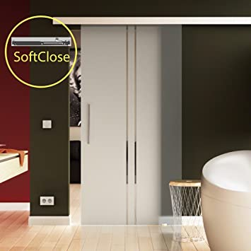 Glas Schiebetür SoftClose 1025 x 2175 mm Dessin: senkrechte Streifen ...