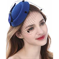 Fascinator Hats Pillbox Hat with Veil Headband and a Forked Clip Tea Party Headwear for Girls and Women