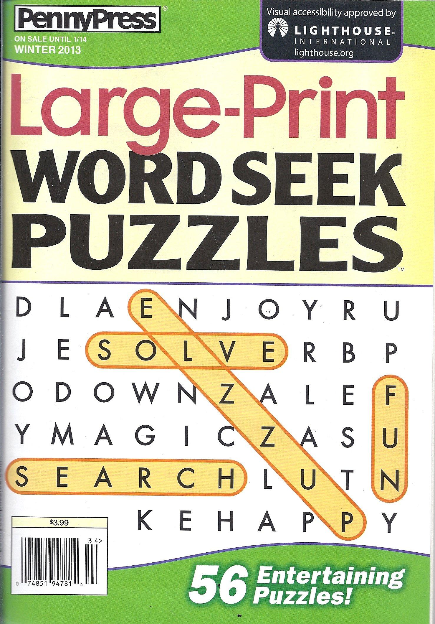 Download Large-print Word Seek Puzzles (Winter 2013 pdf