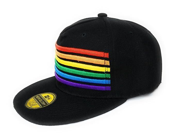 204f877db JP-Squared Co Pride Rainbow Stripes Snapback Hat LGBT Bright Trucker  Baseball Cap
