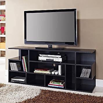 Amazon WE Furniture  Black Wood TV Stand Console Kitchen