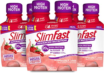 SlimFast Advanced Nutrition Meal Replacement Protein Shake - Strawberries & Cream - - Ready To Drink - 20g of Protein - 11 Fl. Oz. Bottle - 12 Count - Pantry Friendly