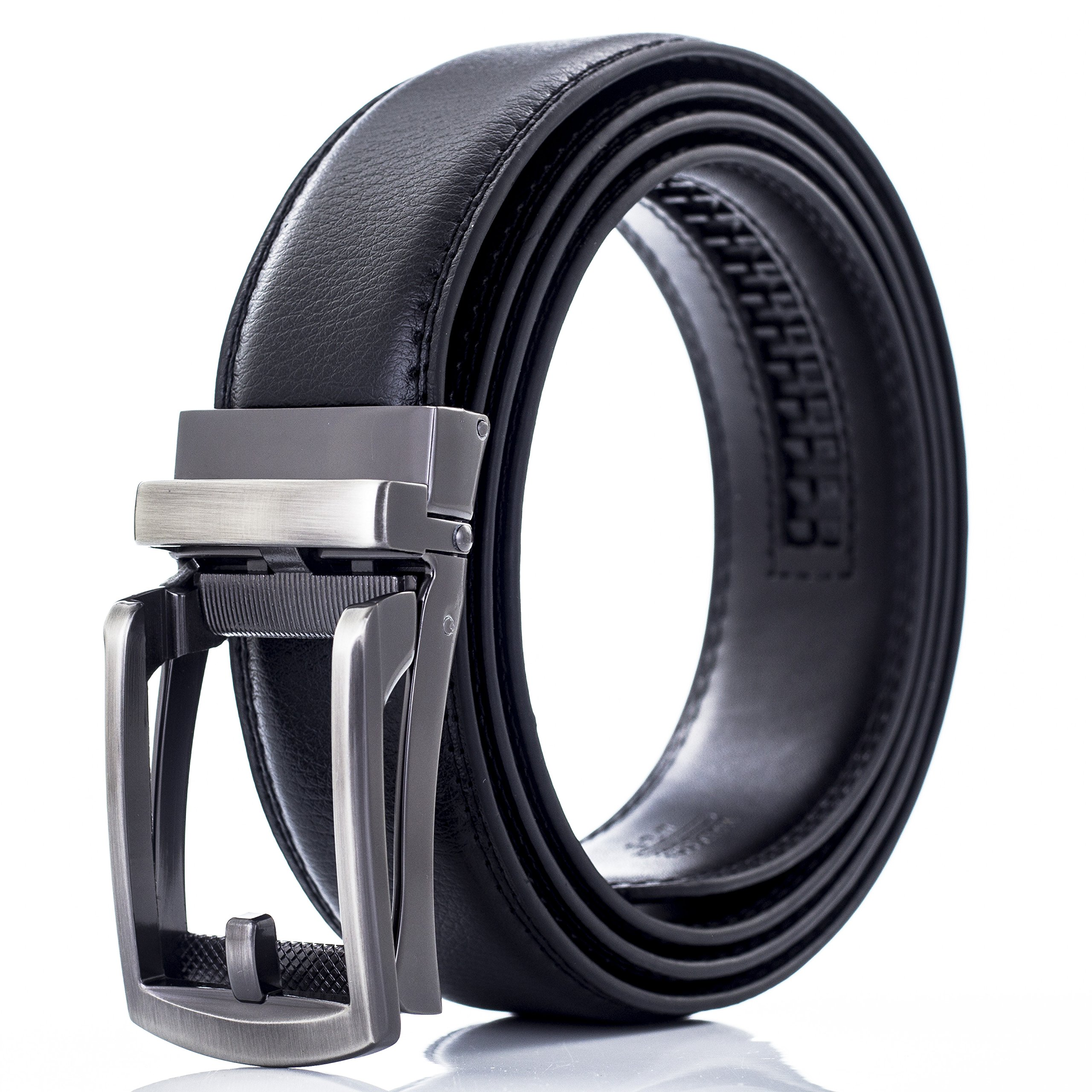 Automatic Ratchet Leather Belt For Men, Durable Alloy Metal Buckle, 35mm Wide DA04-BLK