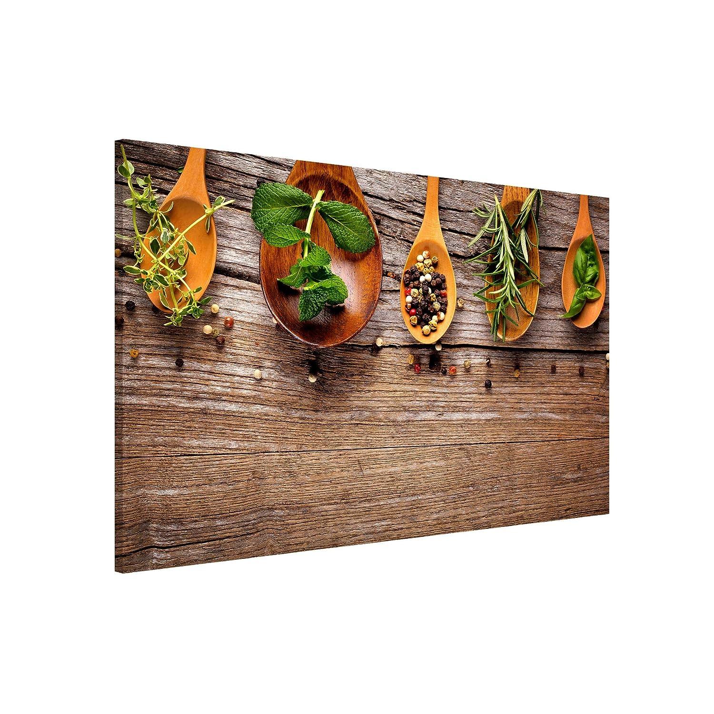 Bilderwelten Magnettafel - Kräuter und Gewürze - Memoboard Querformat 2 3, Wandbild Magnettafel Pinnwand Magnetboard Magnetpinnwand Magnetwand Stahl Küche Büro, Größe HxB  60cm x 90cm