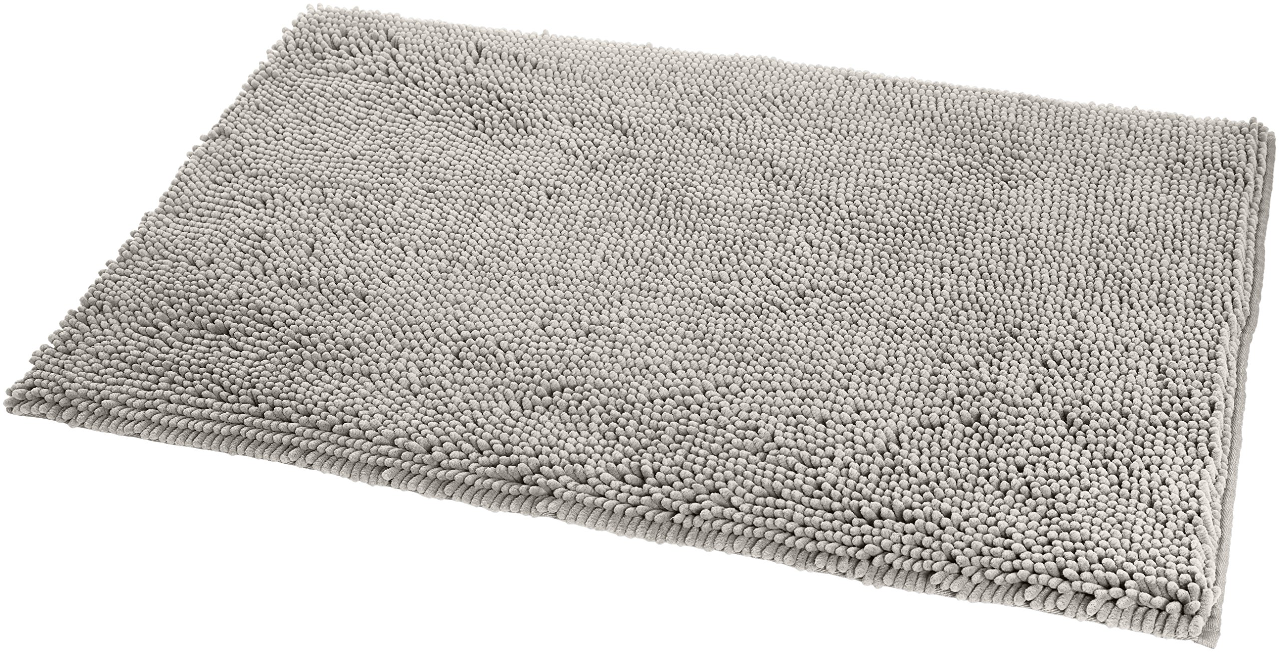 AmazonBasics Non-Slip Microfiber Shag Bathroom Rug Mat, 21'' x 34'', Platinum by AmazonBasics