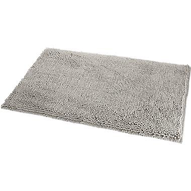 AmazonBasics Non-Slip Microfiber Shag Bath Rug, 21  x 34 , Platinum