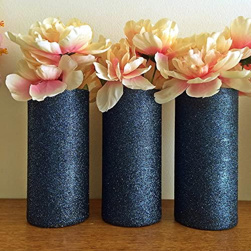 Amazon 3 navy glitter glass cylinder vases wedding 3 navy glitter glass cylinder vases wedding centerpieces navy wedding navy vases junglespirit Gallery