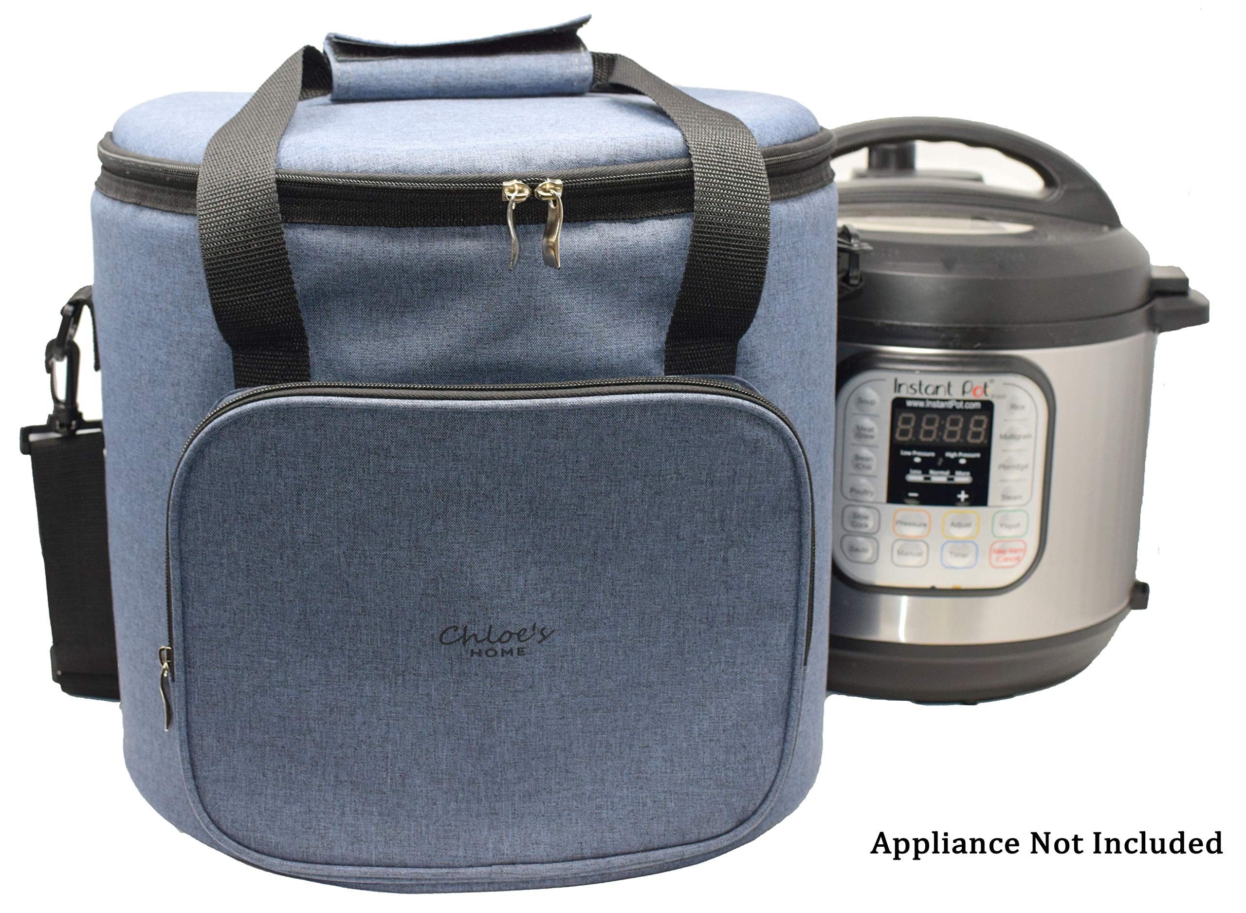 Chloe's Home Travel Bag for Instant Pot (8QT Anthracite Gray) – Versatile Tote Bag For Small Appliances & More With Carrying Strap, Handles & External Zip Pocket- Instant Pot Accessories For Traveling
