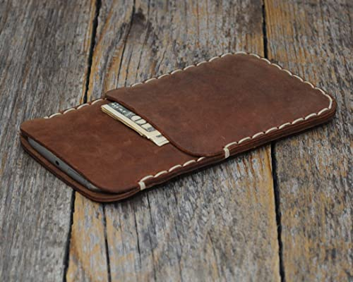 Marrón estuche billetera funda de cuero para Google Pixel 4 XL, 3 XL con bolsillos para tarjetas de crédito. Estuche de manga. Cosido a mano: Amazon.es: Handmade