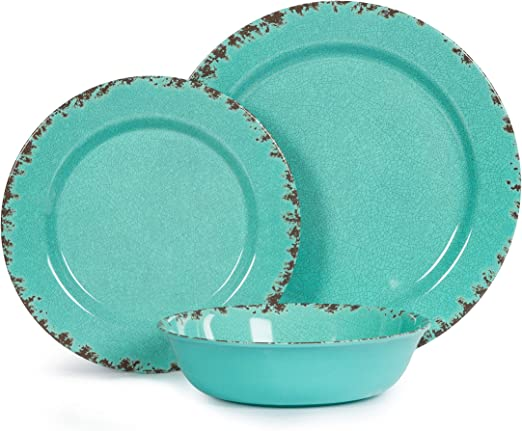 Amazon Com 12pcs Melamine Dinnerware Set For 4 Outdoor Use Dinner Plates And Bowls Set For Camping Unbreakable Turquoise Dinnerware Sets