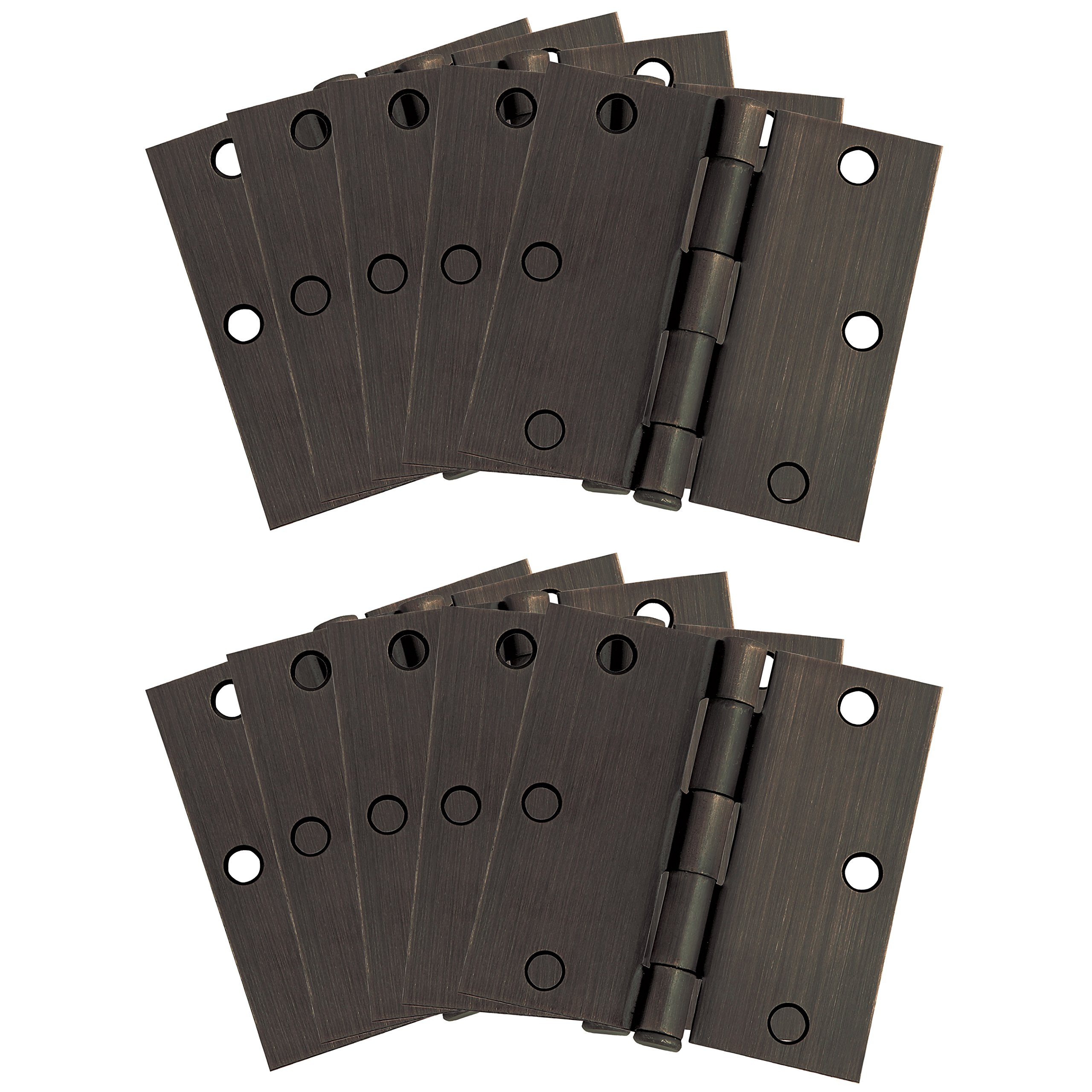 Design House 181503 10-Pack Square Hinge 3.5'', Oil Rubbed Bronze