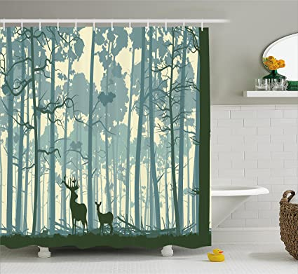 Ambesonne Deer Shower Curtain Set Silhouette Of Animal In Foggy Forest Animals Nature Themed